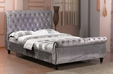 4FT6 DOUBLE CHESTERFIELD SLEIGH STYLE UPHOLSTERED VELVET FABRIC DESIGNER BED FRAME IN SILVER