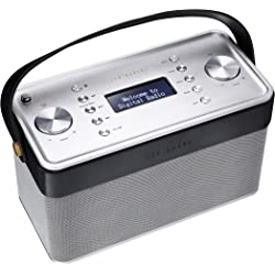Ted Baker London Finisterre DAB/DAB+/FM/Bluetooth and NFC Radio - Brushed Silver/Black Leather
