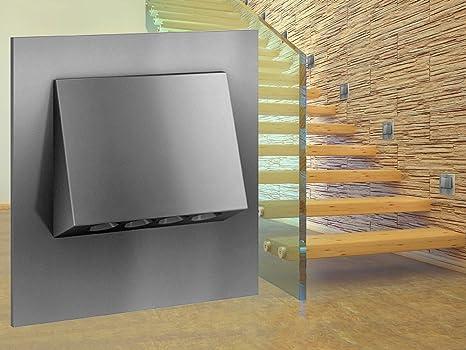schwarz, 8er Set 230V 3W Aluminium Wandeinbauleuchte aussen LED Treppenlicht Wandleuchte mit Bewegungsmelder Quadratische LED Treppenbeleuchtung Stufenbeleuchtung Stufenleuchte