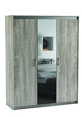 Demeyere 379686 Diva Armoire avec 3 Portes/Miroir Panneau de Particules Chêne Prata 146,1 x 55 x 187 cm