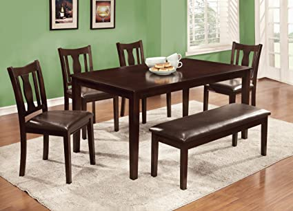 Furniture of America Jolene 6-Piece Dining Table Set with Bench, Espresso Finish