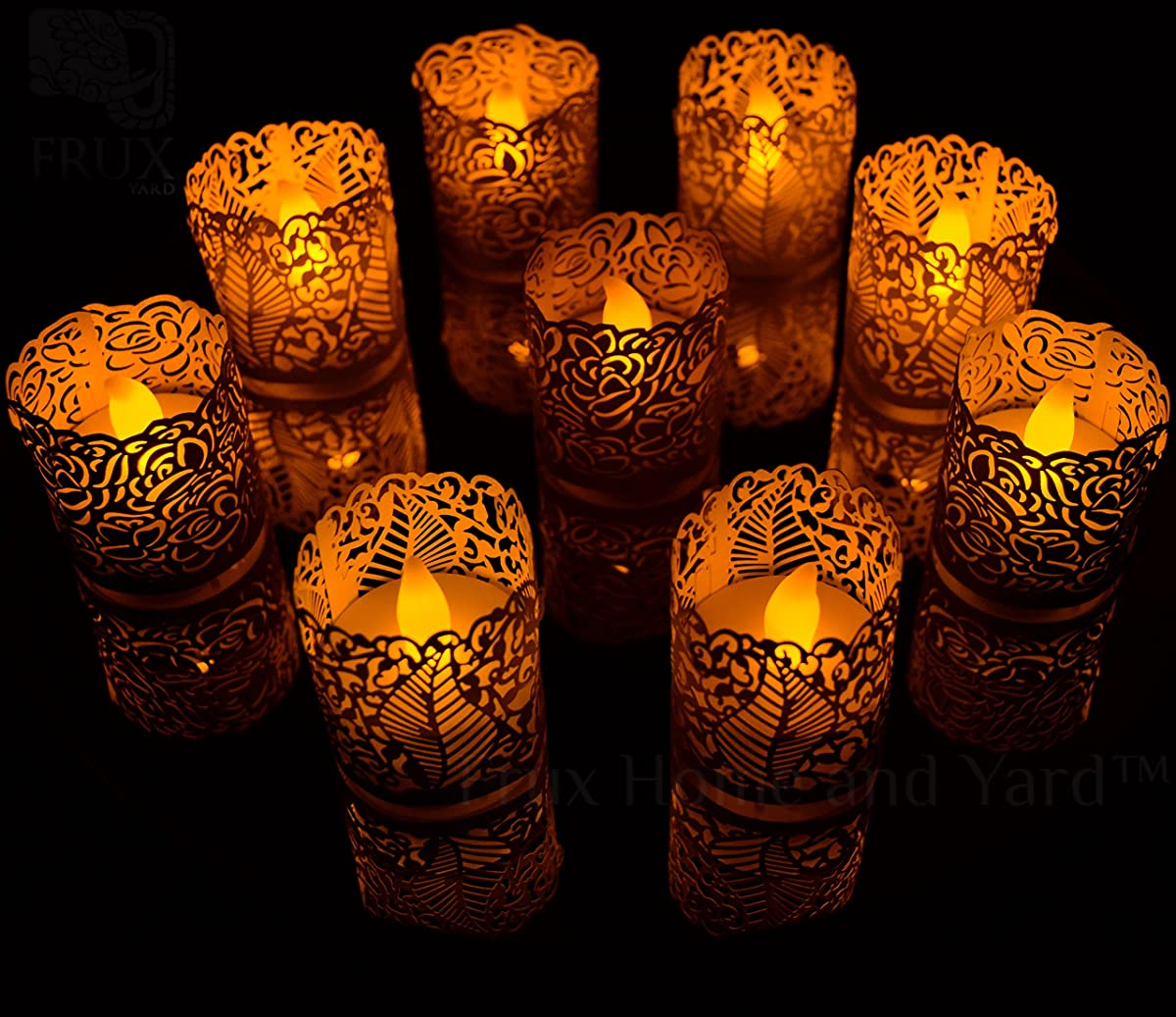 FLAMELESS TEA LIGHT VOTIVE WRAPS- 48 Silver colored laser cut decorative wraps for Frux Home and Yard Flickering LED Battery Tealight Candles (not included)