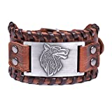 Lemegeton Viking Wolf Fenrir Braided Leather Bracelets for Men, Pagan Celtic Knot Vintage Jewelry (brown and antique silver) (Color: brown,silver)