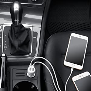 AmazonBasics Dual-Port USB Car Charger for Apple & Android Devices - 4.8 Amp/24W, Black/Red (Color: Black / Red)