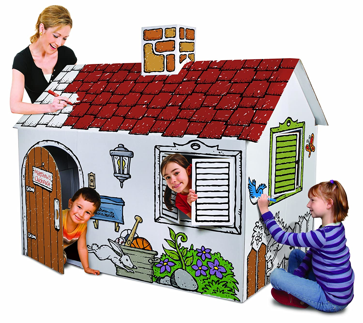 Discovery Kids Cardboard Color and Play Play House