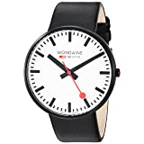 Mondaine ' SBB' Quartz Stainless Steel and Leather Casual Watch, Color:Black (Model: A660.30328.61SBB) (Color: Black/White)