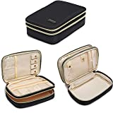 Q-smile Jewelry Travel Case Compact Jewerly and Accessories Organizer Holder for Necklace, Earrings, Rings, Watch and More(Black) (Color: Black, Tamaño: Medium)