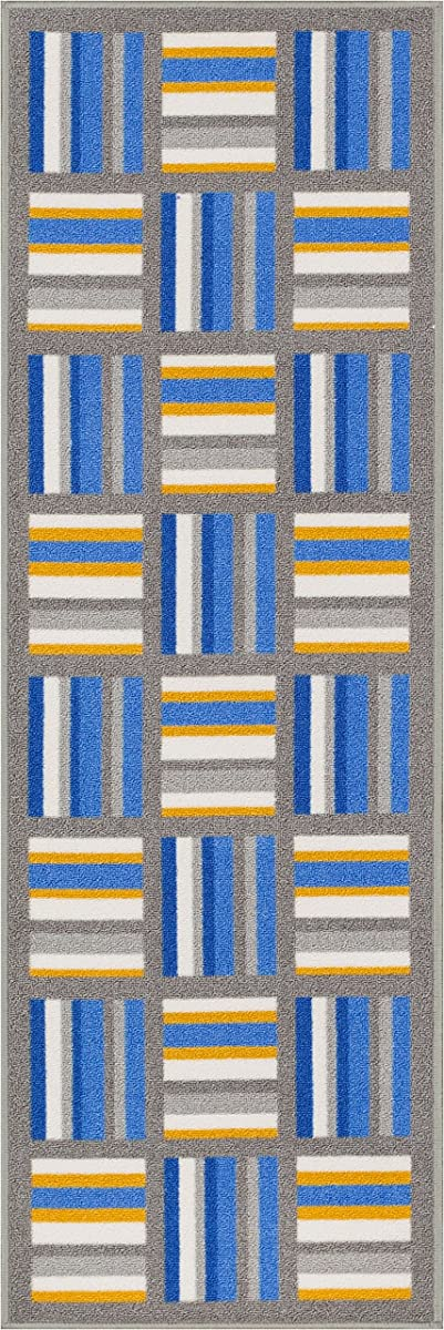 "Non-Skid / Slip Rubber Back Antibacterial 2x5 ( 18"" x 5 ) Door Mat Runner Rug Lovely Stripes Blue Gold Geometric Lines Boxes Thin Low Pile Machine Washable Indoor Outdoor Kitchen Hallway Entry"
