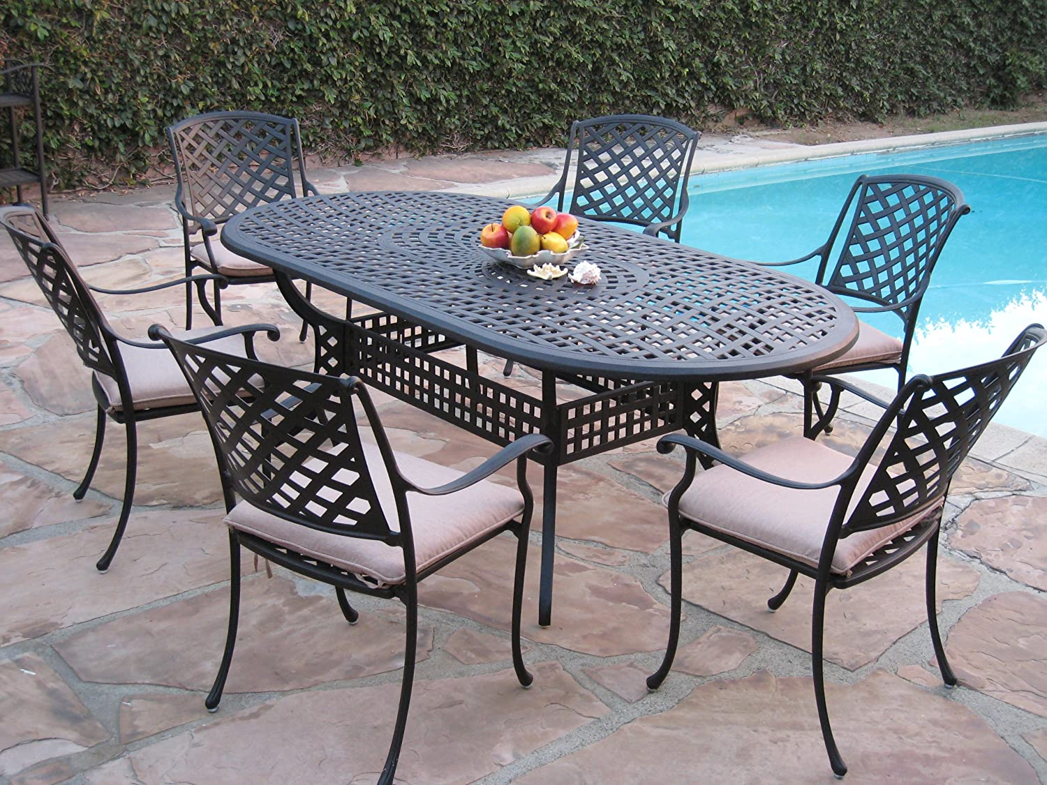 Kawaii collection outdoor cast aluminum patio furniture 7 for Outdoor furniture 7 piece