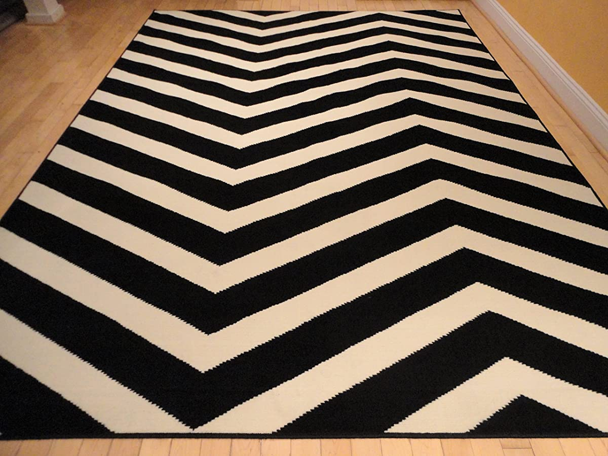 Black Contemporary Chevron Design 5x7 Black Zig Zag Rugs 5 By 7 Area Rug Modern Rugs For Living Room, 5x8 Rugs Black/White