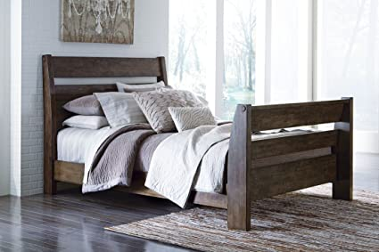 Ashley Emerfield B653-82/97 King Sleigh Bed with Distressed Reclaimed Wood Look Wide Plank Design Headboard and Footboard and Clean Straight Lines in Rustic Brown
