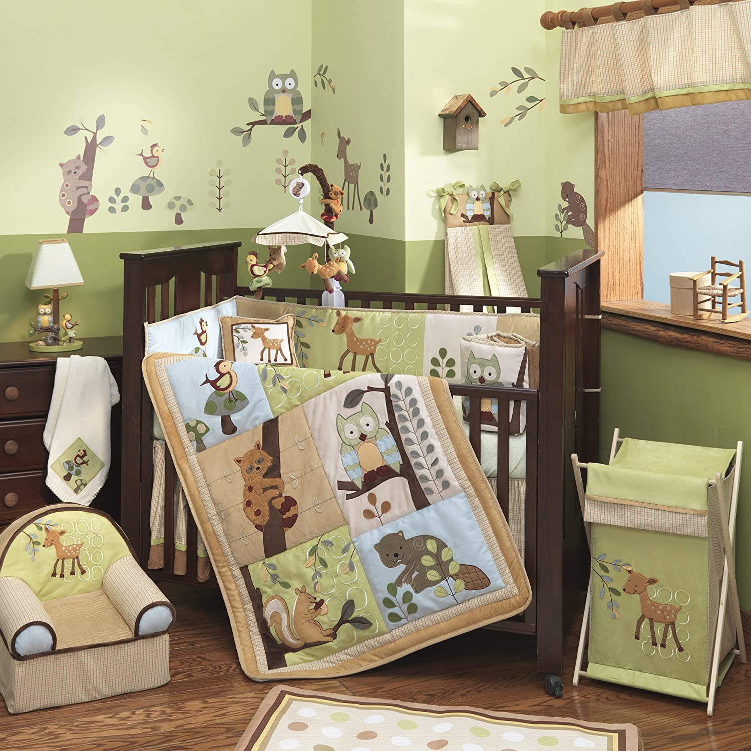 Amazon.com: Lambs & Ivy Enchanted Forest 6 Pc Baby Crib Bedding