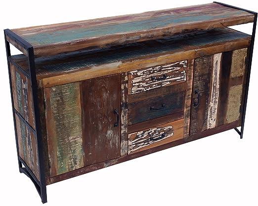 Vintage Kommode mit Turen und Schubladen aus Metall und Recyclingholz / Kommoden & Fernsehtische