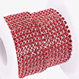 BENECREAT 10 Yard Crystal Rhinestone Close Chain Clear Trimming Claw Chain Sewing Craft About 2880pcs Rhinestones, 2mm - Red (Silver Bottom) (Color: Red (Silver Bottom), Tamaño: 2mm)