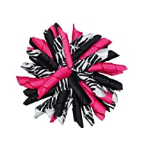 3.5 Hot Pink & Zebra Korker Girls Hair Bow Clip
