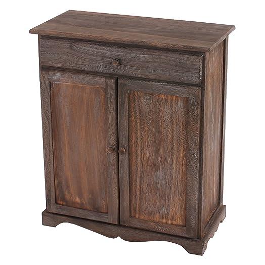 Serie vintage credenza cassettiera legno paulonia cassetto e sportelli 33x66x78cm ~ marrone