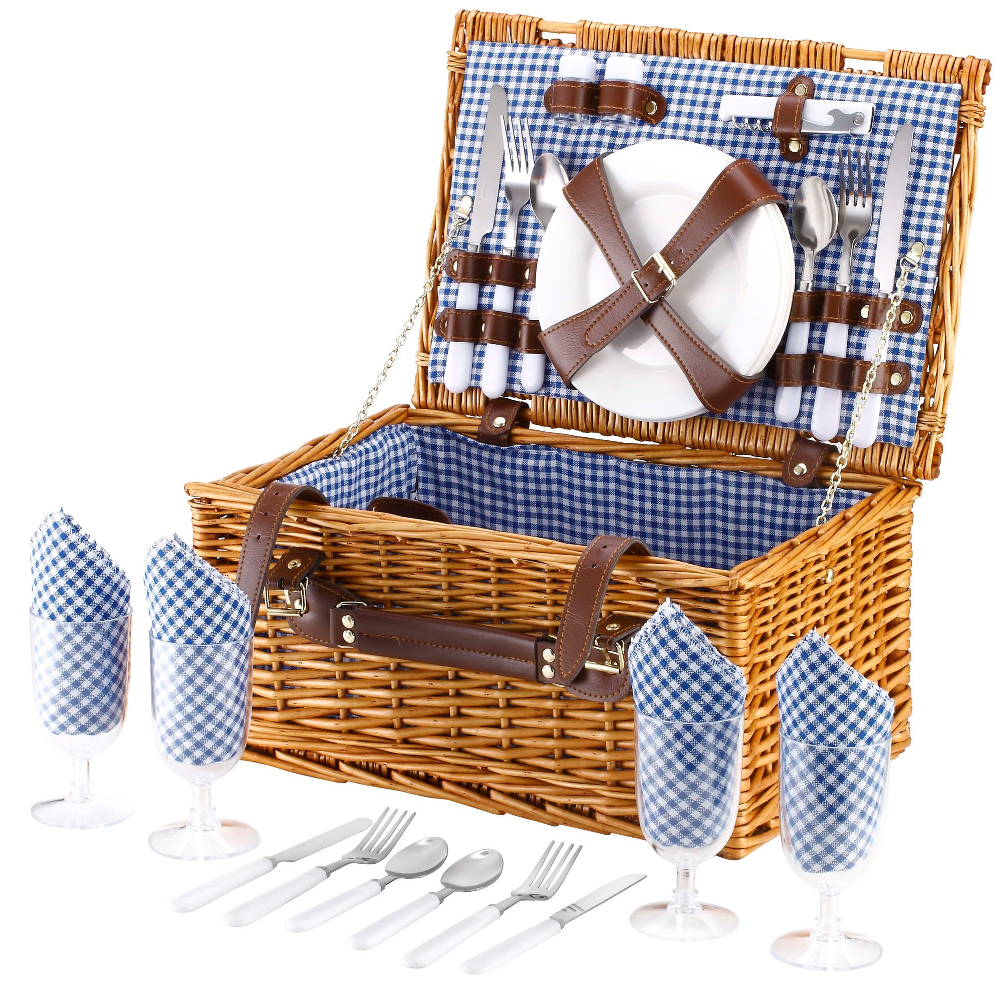Picnic basket hamper set : Vonshef person wicker picnic basket hamper set with