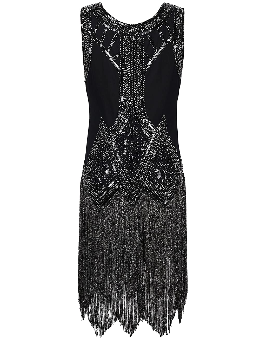 PrettyGuide Women's 1920s Vintage Beaded Fringed Inspired Black Flapper Dress 1