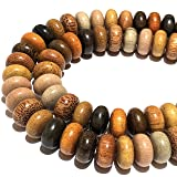 [ABCgems] Premier-Wood-Collection (Rainbow Combination- Up to 12 Different Exotic Hardwood) Precision-Cut 12mm Smooth Rondelle Wood Beads (No Clasp) (Color: Rondelle, Tamaño: 4) 12mm)