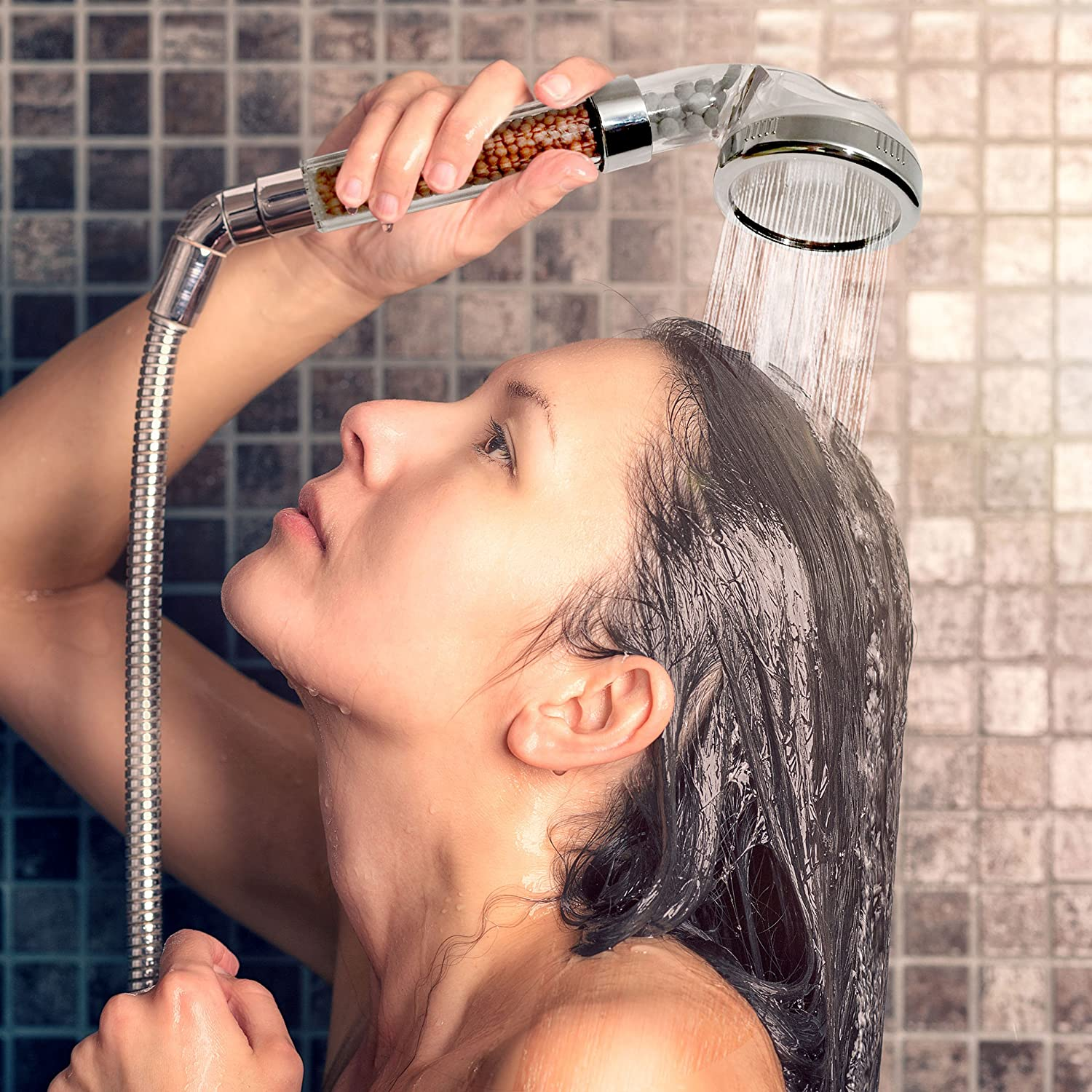 Handheld Filtered Shower Head Filtration with High Pressure - Combo Sprayer Purifies Hard Water Enhancing Dry Skin & Hair