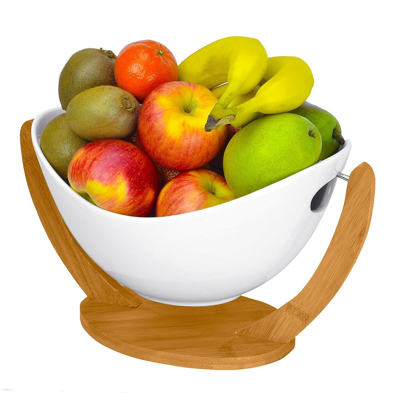 Modern White Ceramic Food Serving Bowl / Tabletop Freestanding Fruit Basket w/ Bamboo Stand
