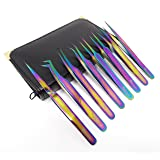 Set of 8 Piece Stainless Steel Multi Rainbow Color Eyelash ExtensionTweezers (A2Z)