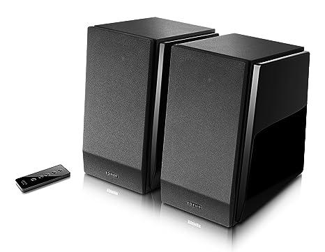 Edifier R1800bt Studio Bluetooth Enceinte bibliothèque (70W) avec télécommande infrarouge pour la télévision/PC/ordinateur portable/tablette/smartphone Noir