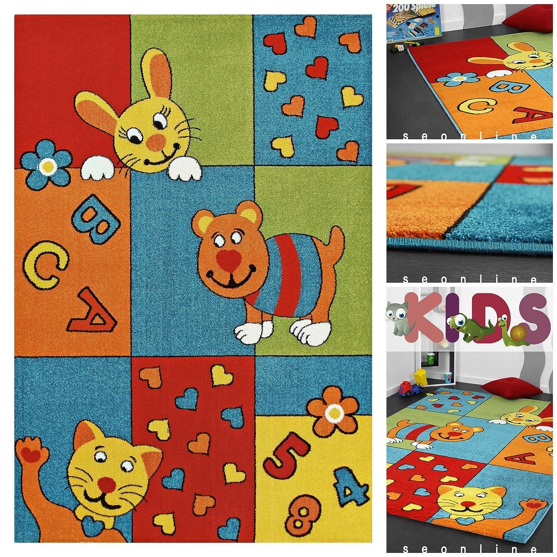 Exklusiver Kinderteppich mit Tieren, Zahlen & Buchstaben in Blau | Moderner Kinder Teppich Spielteppich für Mädchen & Jungen | Hochwertiger Bunter Kids Läufer | Teppiche mit Tier Motiv Bunt für Kinderzimmer, Babyzimmer oder Spielzimmer, Farbe:Blau;Größe:120×170 cm online bestellen