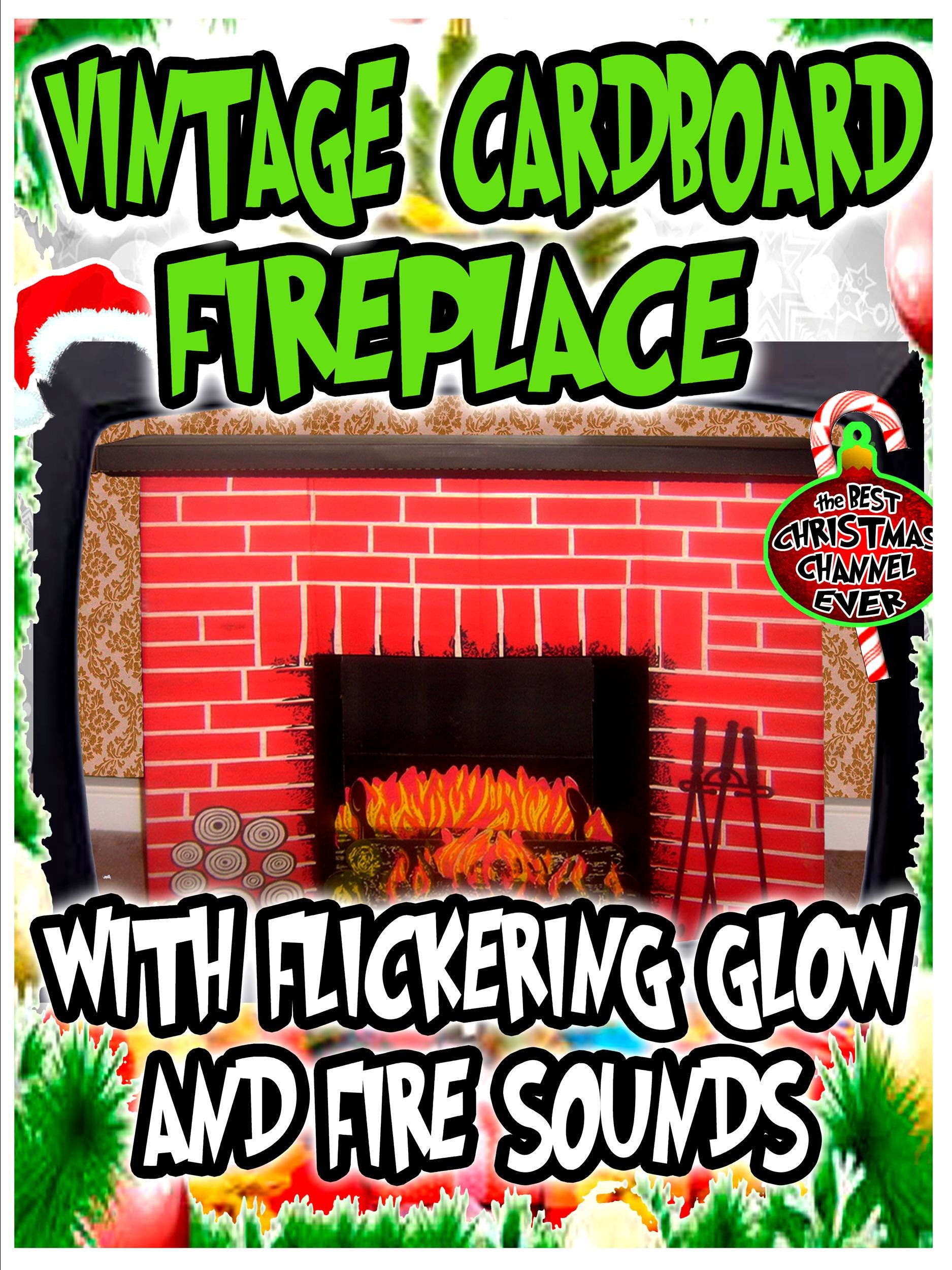 Vintage Cardboard Fireplace with flickering glow and fire sounds