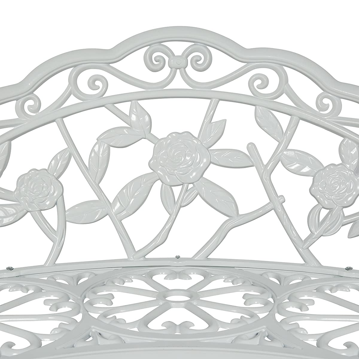 Best Choice Products Floral Rose Accented Metal Garden Patio Bench w/Antique Finish - White