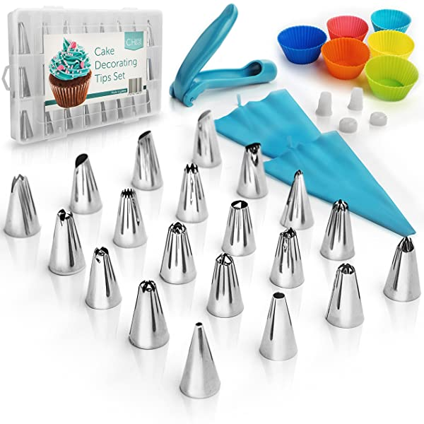 Cake Decorating Supplies Kit 35 pcs Set: 24 Icing Tips - 1 Decoration Pen - 2 Silicone Piping Bags - 1 Cleaning Brush - 2 Nozzles Couplers - 6 Baking Cupcake Cups - Pastry Tools - With Gift box