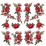 Banfeng 12pcs Rose Embroidered Lace Flower Applique Patches for Arts Crafts DIY Decor, Jeans, Jackets, Clothing, Bags (Color: red, Tamaño: A)