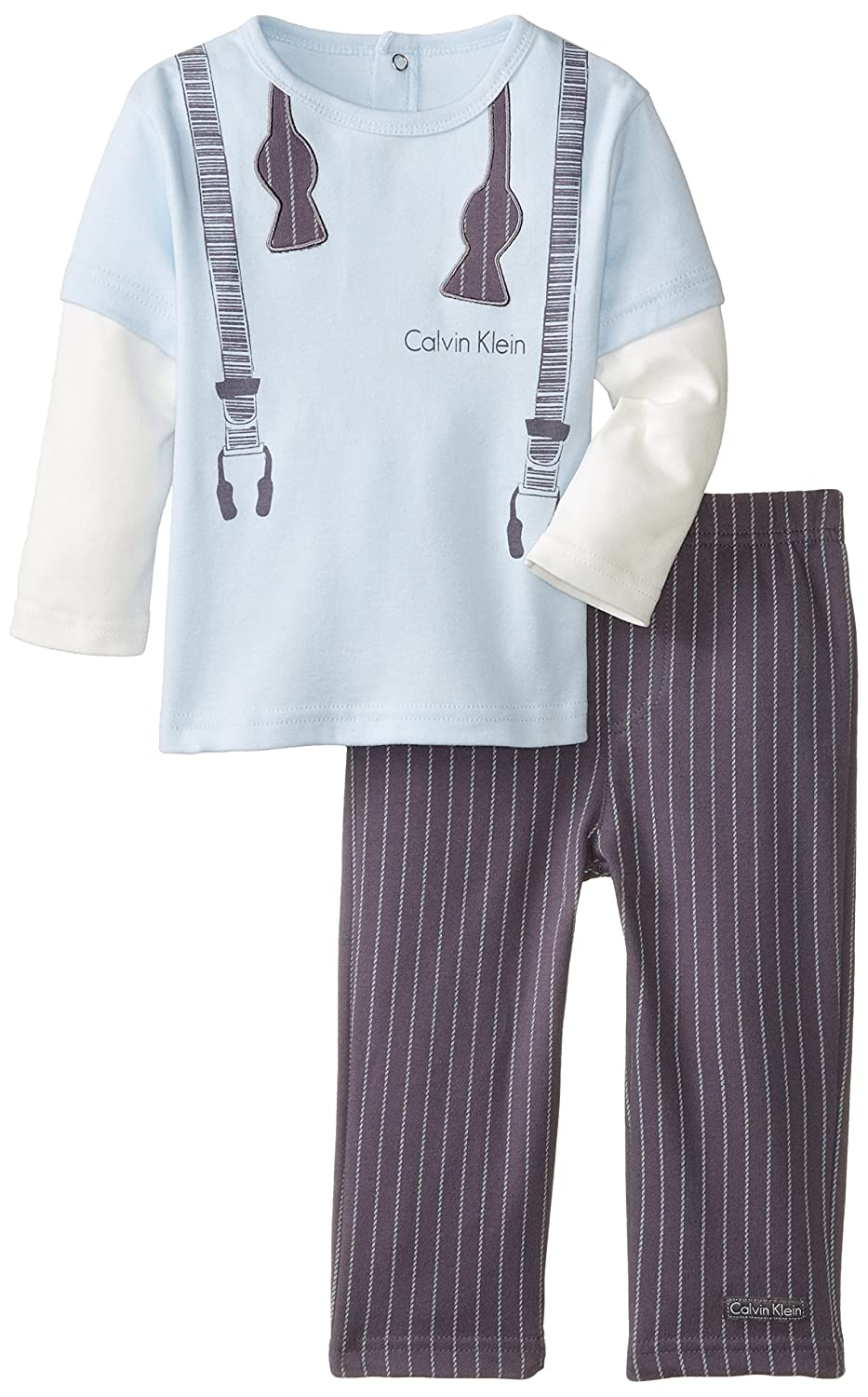 Calvin Klein Baby Boys' Twofer Long Sleeve Tee with Pull On Pants пижама evans evans ev006ewscq22