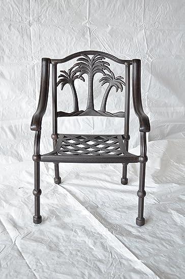 Palm Tree Outdoor Patio Dining Chair Dark Bronze Cast Aluminum Set of 4
