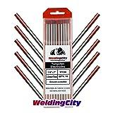 WeldingCity 10-pk Premium TIG Welding Tungsten Electrode Rod 2.0% Thoriated (Red, EWTh20) 1/8