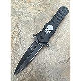Dark Side Blades Punisher Black Aluminum Handle Knife Folding Pocket Handy Knife (Color: Black)