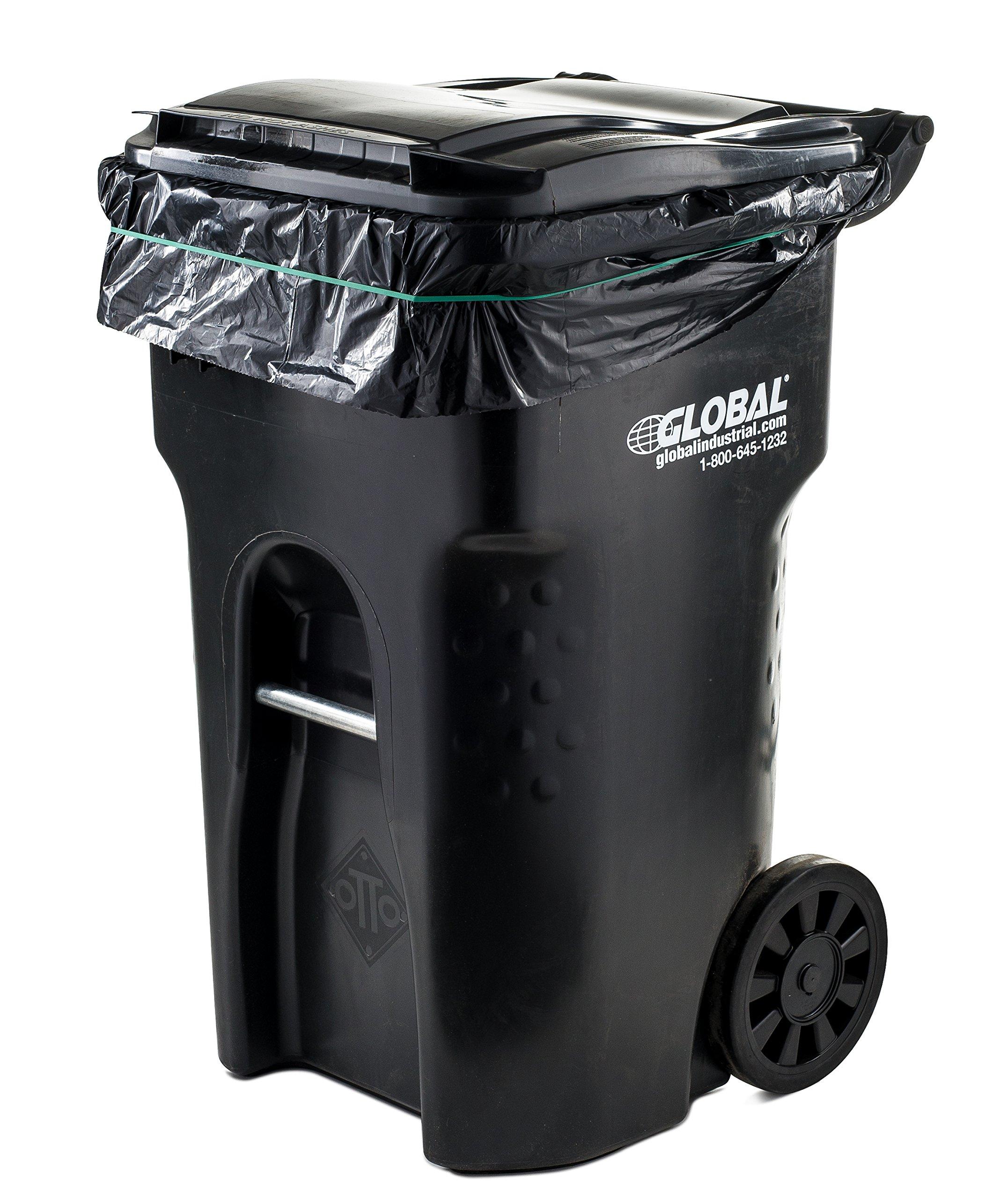 95 gallon trash bags 25 case black plasticplace ebay. Black Bedroom Furniture Sets. Home Design Ideas