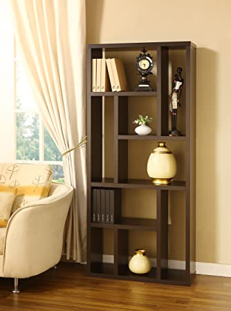 Furniture of America ID-11399 Erkan Multi-Shelf Display Bookcase - Cappuccino, Material: Medium fiber board (MDF), Veneers, Metal, Finish: Cappuccino