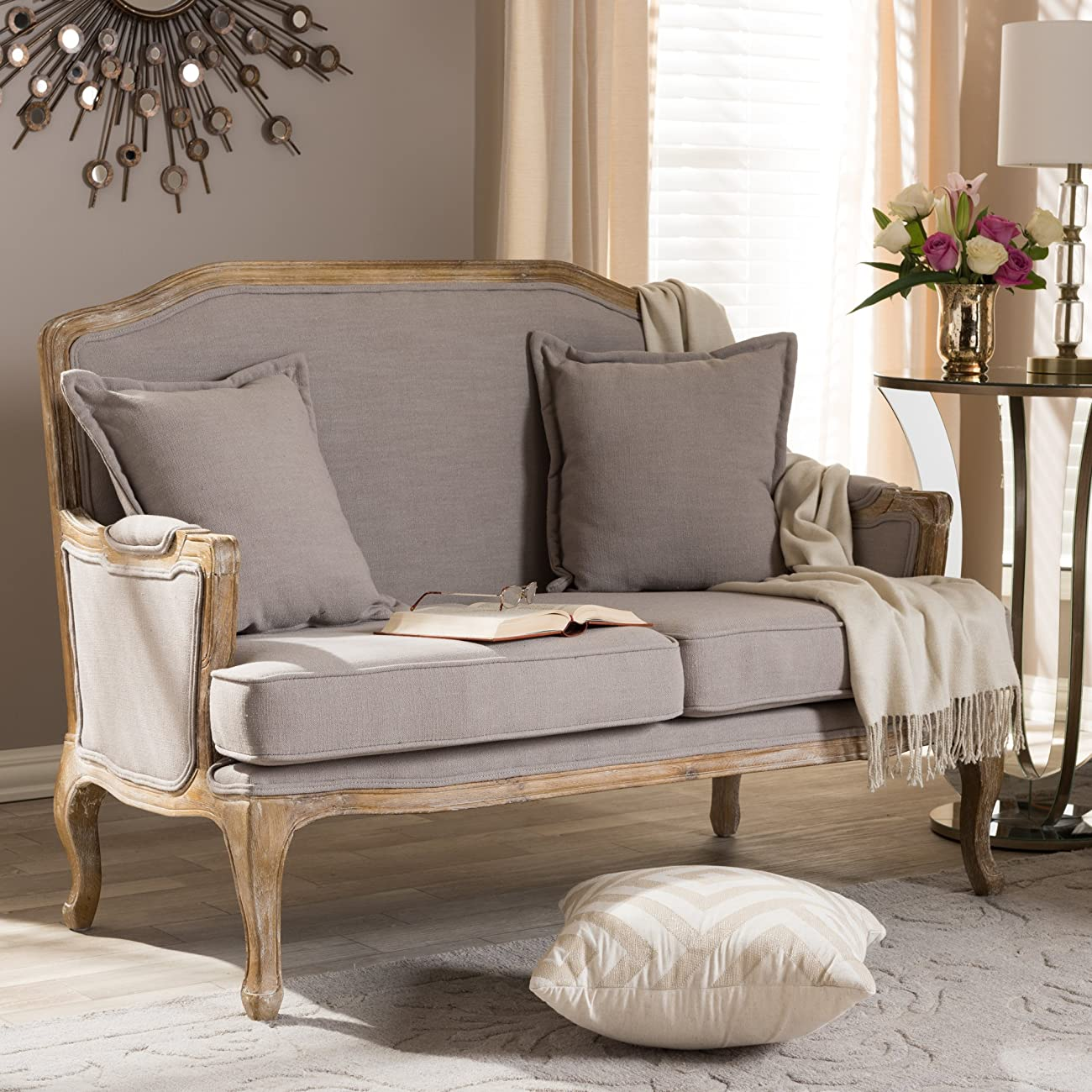 Baxton Studio Constanza Classic Antiqued French Loveseat 5