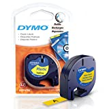 DYMO LetraTag Labeling Tape for LetraTag Label Makers, Black print on Yellow tape, 1/2' W x 13' L, 1 roll (91332)