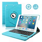 iPad 9.7 Keyboard Case for 2018 iPad 6th Gen / 2017 iPad 5th Gen - 360 Rotatable - Built-in Magnet - Removable Wireless Bluetooth Keyboard - 2018 & 2017 iPad 9.7 Case with Keyboard (Blue) (Color: Free Rotation/Blue, Tamaño: iPad 9.7 (5th Gen))