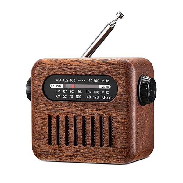 Portable AM/FM/NOAA Weather Vintage Radio for Emergency, Retro Walnut Wood Old Fashioned Style Radio with Bluetooth Speaker, AUX Player for Walking, Camping, and Traveling (Tamaño: M218)