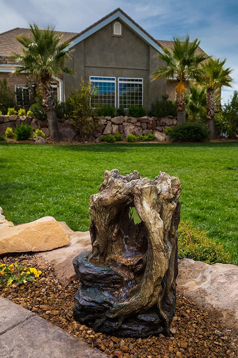 Alexander Log Fountain - LED Lights Included. Calming Waterfall Feature Great for Gardens and Patios. Realistic Hand Crafted Design. Easy to Set Up. Pump Included.