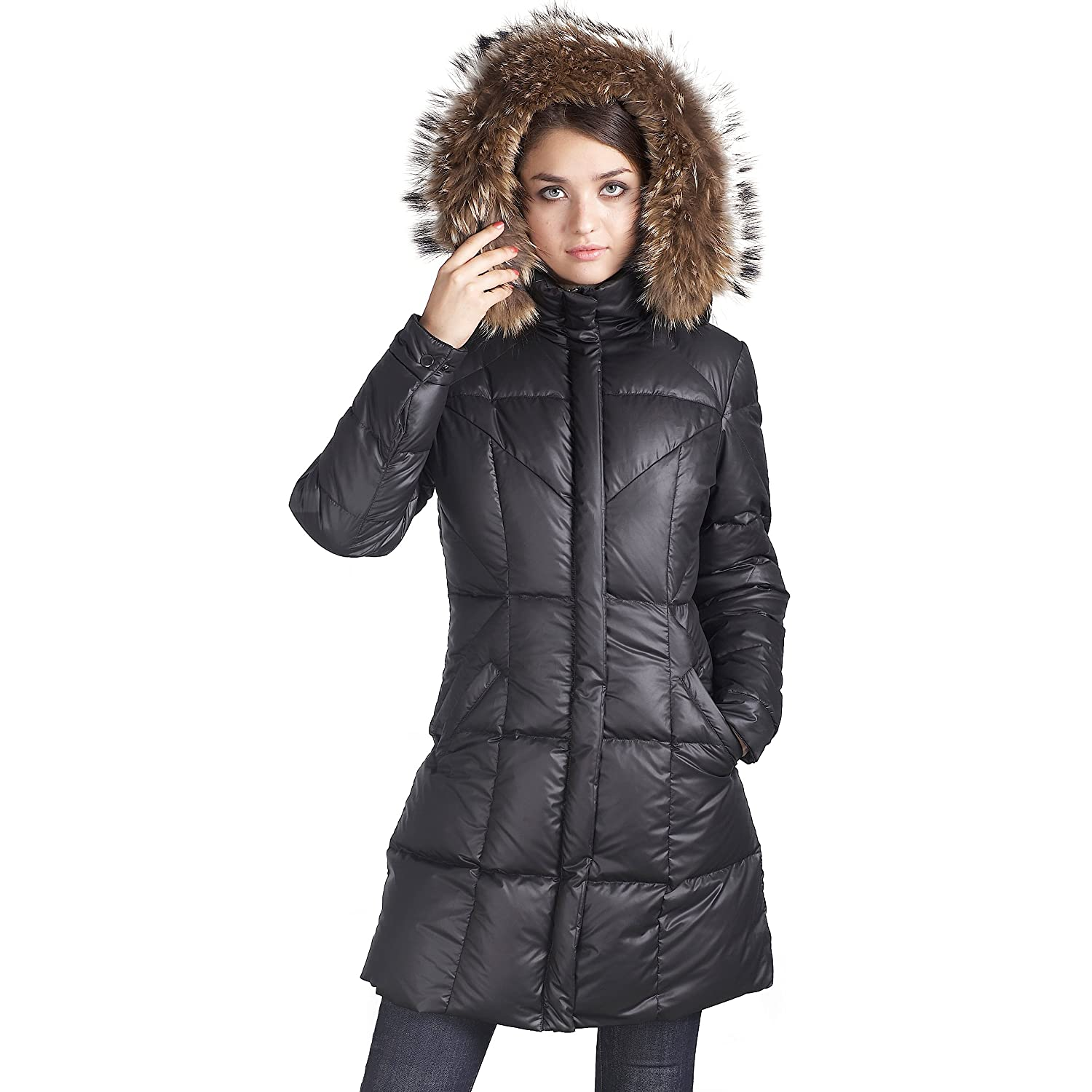 Jessie G. Women's Down Parka Coat with Raccoon Fur Trim – Black M