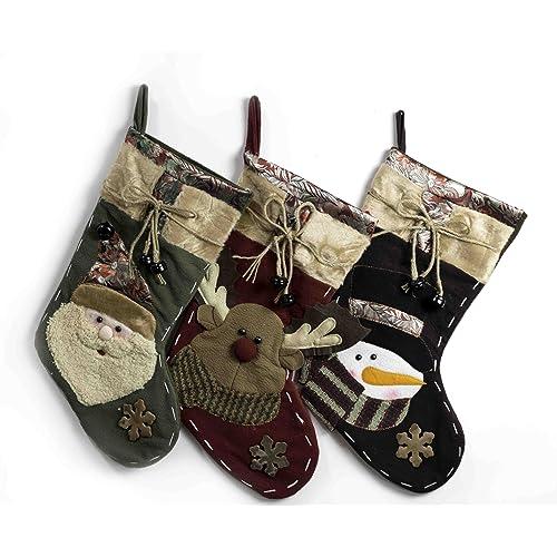 3 Pcs Set - Fancy Christmas Stockings 19 Santas Toys Stockings