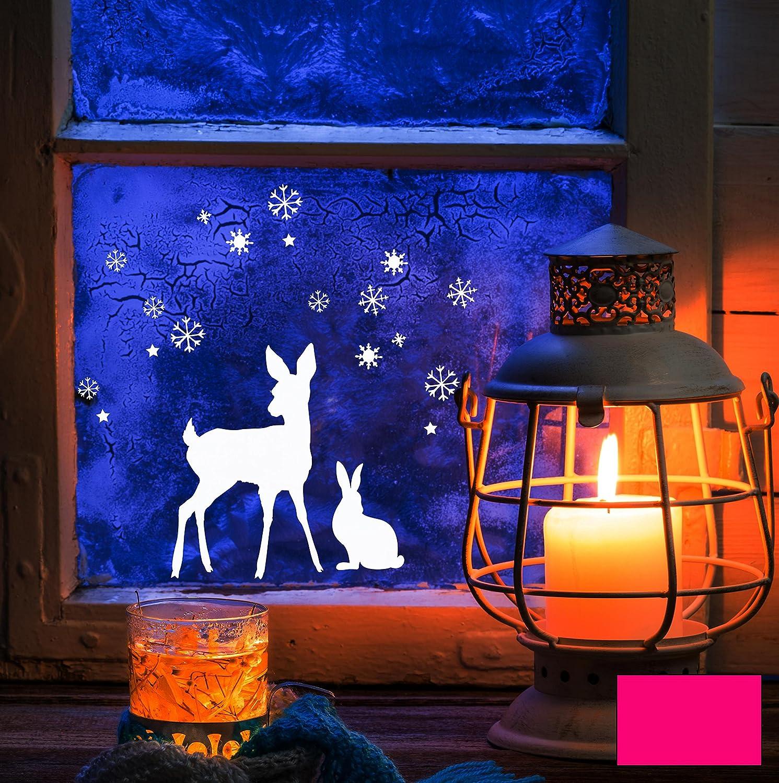Fensterbild Wandtattoo Reh Hase Schnee Sterne M1677 – ausgewählte Farbe: *Pink* – ausgewählte Größe: *M – Maße siehe Beschreibung* online kaufen