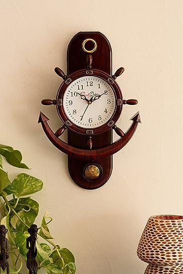 ecraftindia retro decorative anchor plastic pendulum wall clock 32 cm x 3 cm x 40