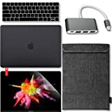 GMYLE 5 in 1 MacBook New Pro Touch Bar 13 Inch A1989/A1706/A1708 (2016,2017,2018 Release) Bundle, USB C Hub Adapter, Hard Case, Double Canvas Sleeve Bag, Keyboard Cover & Screen Protector - Black (Color: 5 in 1 Starter Bundle Kit, Tamaño: MacBook Pro Touch Bar 13