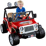 Power Wheels Jeep Wrangler, Red (Color: Lava Red/Black, Tamaño: 12 Volt)