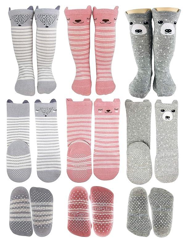 FUTURE FOUNDER Boys Calf Socks 12-36 months Black-White-Gray 6-pack